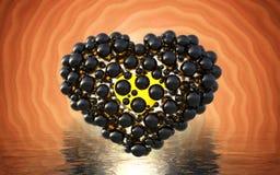 coeur noir fait de sphères avec des réflexions sur le lac lumineux spiral de fond et de waterscape Jour de valentines heureux 3d  Photo stock