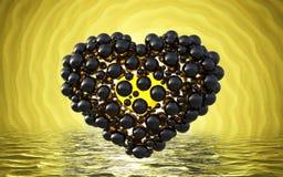 coeur noir fait de sphères avec des réflexions sur le lac lumineux spiral de fond et de waterscape Jour de valentines heureux 3d  Photographie stock libre de droits