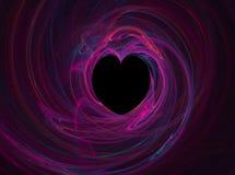 Coeur noir parmi des roses Image libre de droits