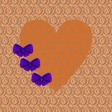 Coeur orange avec les arcs pourpres Photographie stock libre de droits