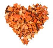 Coeur orange des fleurs sèches, arbre Photographie stock libre de droits