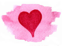 Coeur peint au-dessus de la tache d'aquarelle Image stock