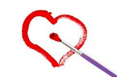 Coeur peint de couleurs Photos libres de droits