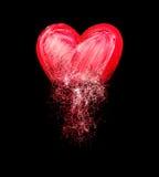 Coeur peint de l'embrouillement des griffonnages Photos stock