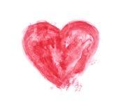 Coeur peint par aquarelle rouge Photo libre de droits