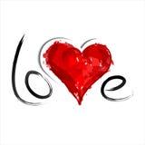 Coeur peint par rouge. Amour illustration stock