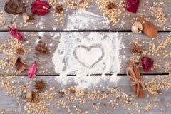 Coeur peint sur la farine Images stock