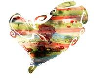 Coeur, peinture, cire, boue et aquarelle sur le fond blanc Photo stock