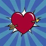 Coeur percé avec l'illustration de vecteur de flèche Image stock