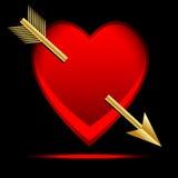 Coeur percé par une flèche, postale au jour du saint Valentin Photographie stock libre de droits