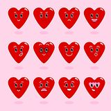 Coeur Personnages de dessin animé avec différentes émotions Icônes émotives émoticône Un ensemble d'émotions Vecteur illustration stock