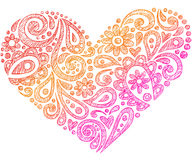 Coeur peu précis de griffonnage de cahier de henné de Paisley Photos libres de droits