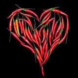 Coeur. Poivrons de piment d'un rouge ardent Photo libre de droits