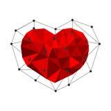 Coeur polygonal Bas poly vecteur Images libres de droits