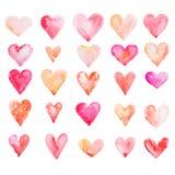 Coeur pour aquarelle d'isolement sur le fond blanc Photographie stock libre de droits