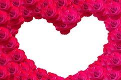 Coeur pour la valentine faite à partir des fleurs roses Images stock