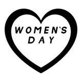 Coeur pour le jour des femmes avec le chemin noir et avec la légende noire de suffisance Photographie stock