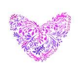 Coeur pourpre sous forme de fleur et de feuillage Illustr de vecteur Images stock