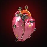 Coeur punk diesel de techno de robot moteur avec des tuyaux, des radiateurs et des pièces métalliques roses brillantes de capot d Photographie stock