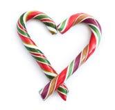 Coeur rayé de sucrerie de Noël Image libre de droits