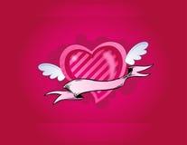Coeur rose avec de petites ailes Images libres de droits