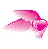 Coeur rose avec des ailes Photo stock
