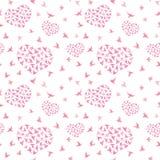 Coeur rose avec des oiseaux Modèle sans couture écervelé watercolor Photographie stock
