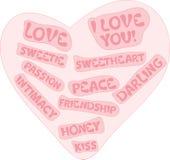 Coeur rose avec des signes d'amour Photographie stock