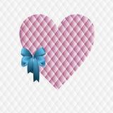 Coeur rose avec un arc bleu Image stock