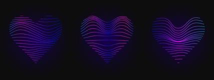 Coeur rose bleu lumineux Signe au néon Rougeoyer ondule sur le fond noir Calibre abstrait de conception Photo libre de droits