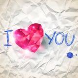 Coeur rose d'origami sur le contexte de papier chiffonné avec Image stock