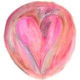 Coeur rose dans la peinture brune d'aquarelle de cercle Photographie stock