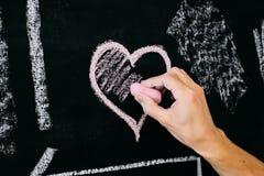 Coeur rose de craie Images libres de droits