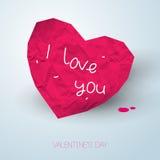 Coeur rose de papier avec le message manuscrit sur la lumière Images libres de droits