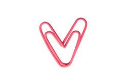 Coeur rose de trombone Photographie stock libre de droits