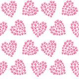 Coeur rose des traces du modèle v sans couture d'amour d'empreinte de pas de pattes illustration de vecteur
