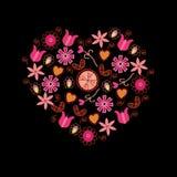 Coeur rose floral Photos libres de droits