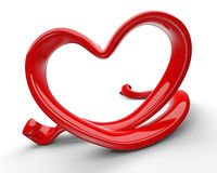 Coeur rouge abstrait de l'amour 3d Photographie stock