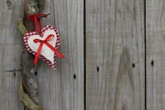 Coeur rouge accrochant sur le caroubier de miel Images libres de droits