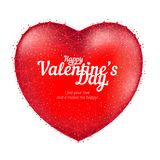 Coeur rouge au jour heureux du ` s de Valentine se composant des polygones et des points d'isolement sur le fond blanc Photo stock