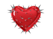 Coeur rouge avec des épines Image stock