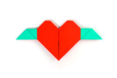 Coeur rouge avec des ailes Images libres de droits