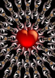 Coeur rouge avec des bouteilles de vin Image stock