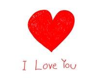 Coeur rouge avec je t'aime le mot sur la carte de papier Image libre de droits