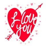 Coeur rouge avec l'inscription je t'aime Photographie stock libre de droits