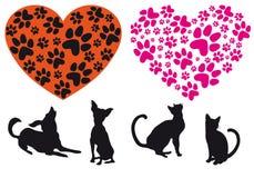 Coeur rouge avec la configuration animale de foodprint, vecteur Images libres de droits