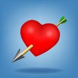 Coeur rouge avec la flèche. Illustration de vecteur Photographie stock libre de droits