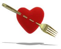Coeur rouge avec la fourchette d'or images stock