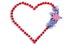 Coeur rouge avec le coeur de flowers Images stock