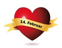 Coeur rouge avec le diamant et la bannière Photo stock